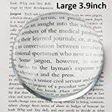"Large 3.9 Inch Glass Dome Magnifier/Paper Weight by Hombae - Genuine Crystal Glass, Easy to Glide Paperweight, Professional Grade Reading Aid for Newspapers, Maps, Books - Large 3.9"" Diameter"