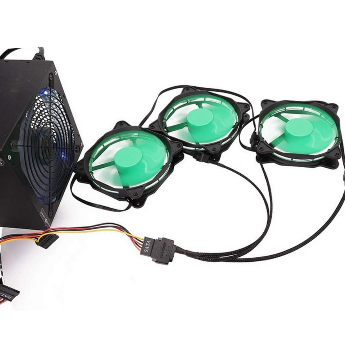 K/ühler L/üfter Adapter Kabel 15 Pin SATA auf 3 x 3 Pin // 4 Pin PMW 12V PC-Geh/äusel/üfter Stromadapterkabel, auf 15 Pin SATA Computerk/ühler K/ühlung L/üfter Splitter Y Stromkabel PWM-Anschluss