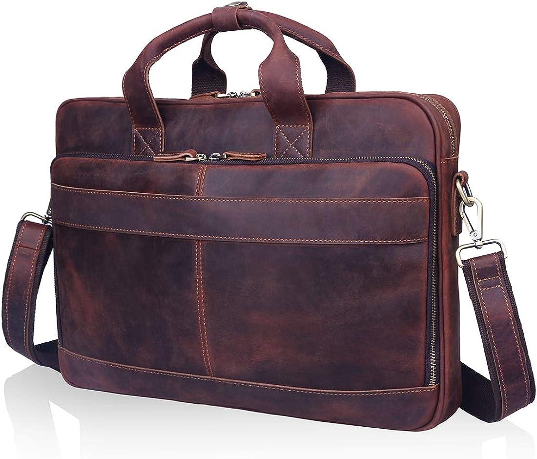 A-ZA 15.6 inch Vintage Leather Messenger Bag for Men, Leather Briefcase for Men Leather Crossbody Laptop Bag Attach Case