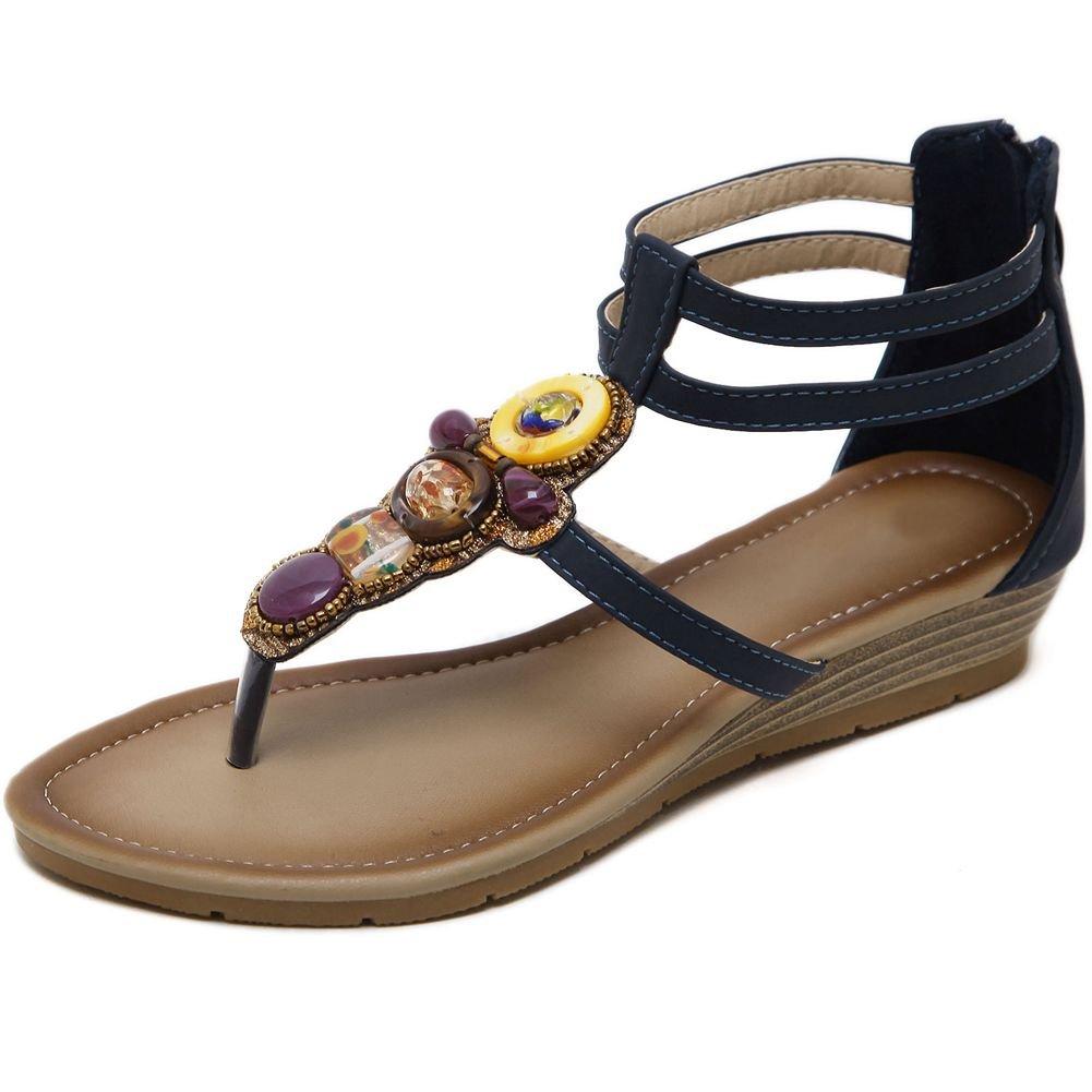 KingRover Women's Thong Wedge Heel Zip Sandals T-Strap Bohemian Rhinestone Slip On Flip Flops Shoes B07BNH4JWW 8.5 B(M) US|1dark Blue