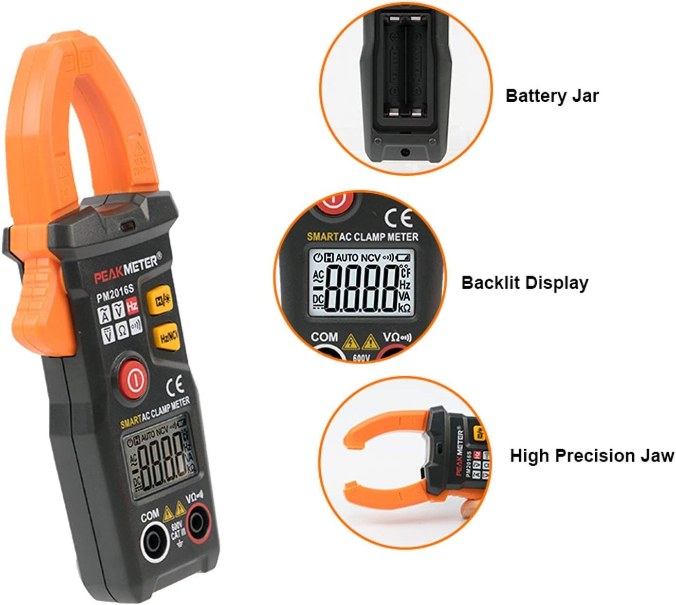 YYONGAO PM2016S Smart Mini Digital AC Clamp Meter Multimeter with Resistance Frequency Data Hold NCV Tester Digital Tester Multifunctional Digital Clamp Meter