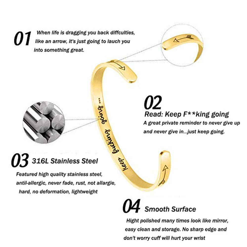 GAGAFEEL Inspirational Bracelet Mantra Cuff Engraved Keep Going Stainless Steel Bangle Encouragement Jewelry Gift for Women Girl Teen Friends (Gold)