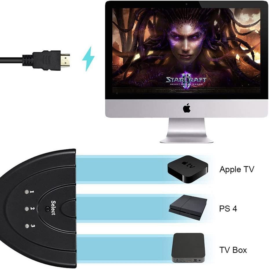 HDMI Switch Hdmi Switcher 3 In 1 out with High Speed Pigtail Cable Supports 1080P/&3D HD Audio