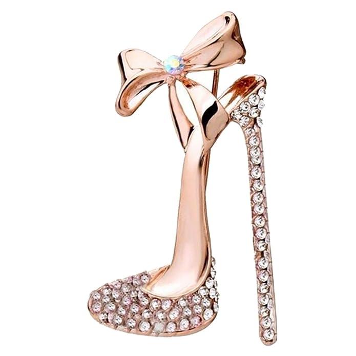 Nikgic 1pc Broche de Diamantes de Imitación Broche de Zapatos de Tacón Alto Bowknot (Dorado) SrPJrK03V