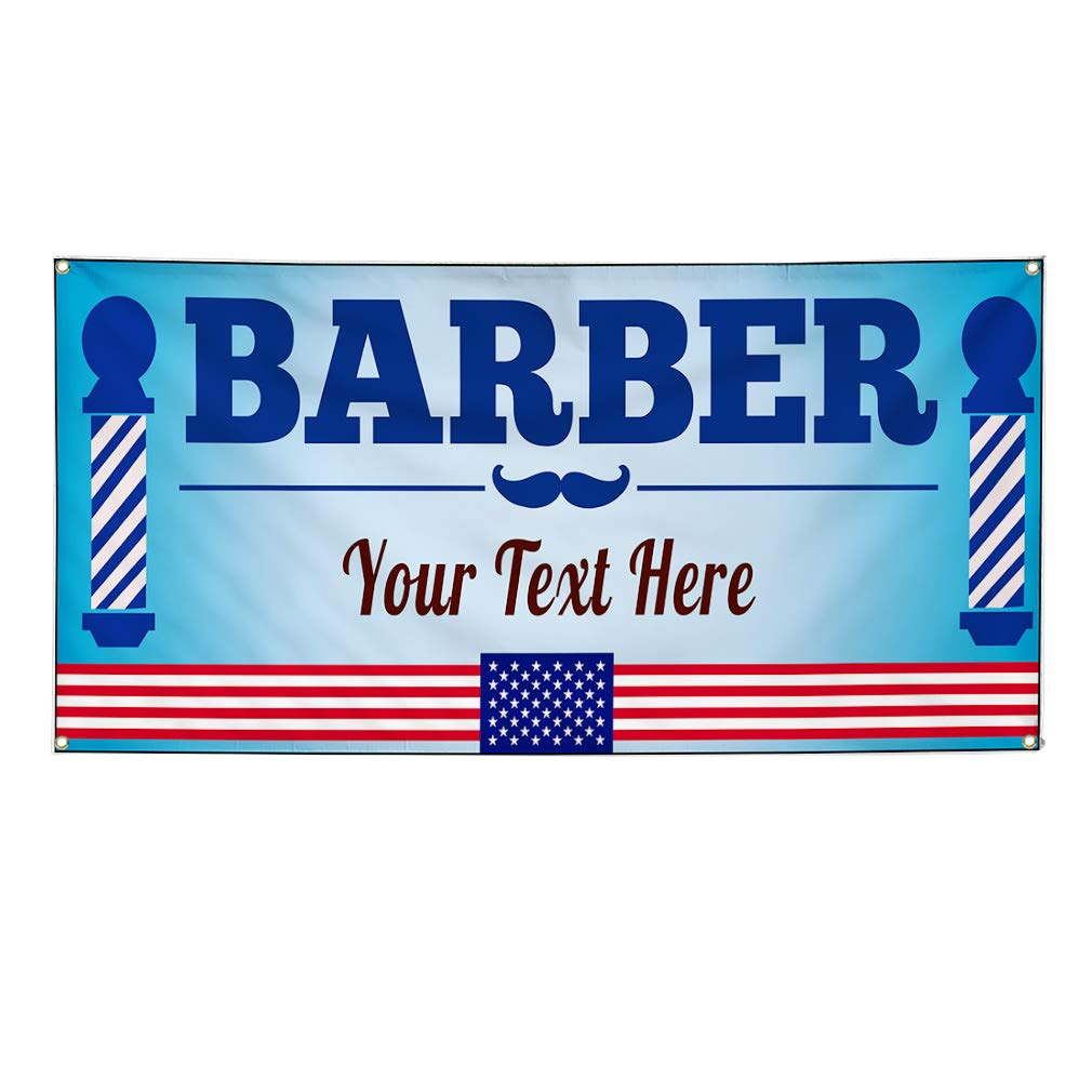 Custom Industrial Vinyl Banner Multiple Sizes American Flag Barber Personalized Text Business Outdoor Weatherproof Yard Signs Blue 10 Grommets 60x120Inches