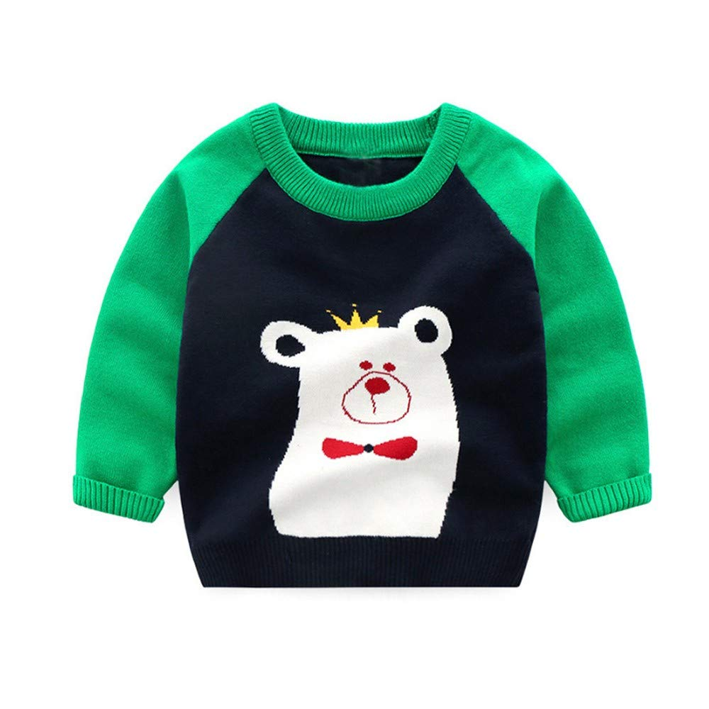 Jchen(TM) Baby Infant Little Boy Girl Cartoon Koala Sweaters Soft Warm Kids Autumn Tops for 1-5 Y (Age: 12-18 Months, Green)