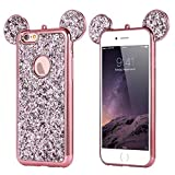 iPhone 6 6s Glitter Mickey Ears Case, Luxury Protective TPU Bling Crystal Rhinestone Sparkle Glitter Diamond Case Cover For iPhone 6 6s (Glitter Ears Rose Gold)