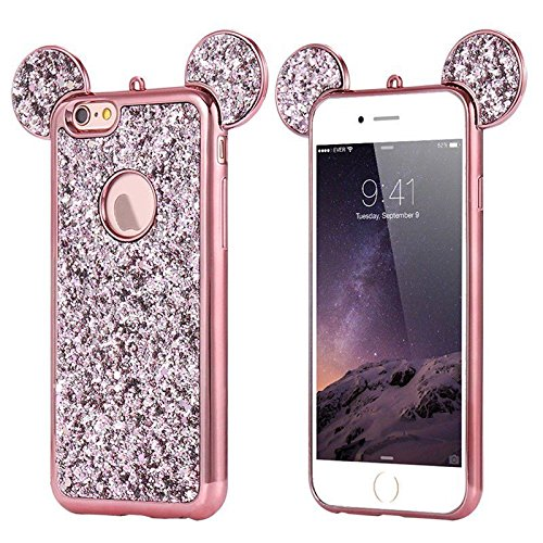 AccessoryHappy Creative Case, Luxury 3D Mickey & Minnie Ears Bling Crystal Rhinestone Sparkle Glitter Diamond Protective TPU Cover Compatible with iPhone 7 & iPhone 8 (Rose Gold)