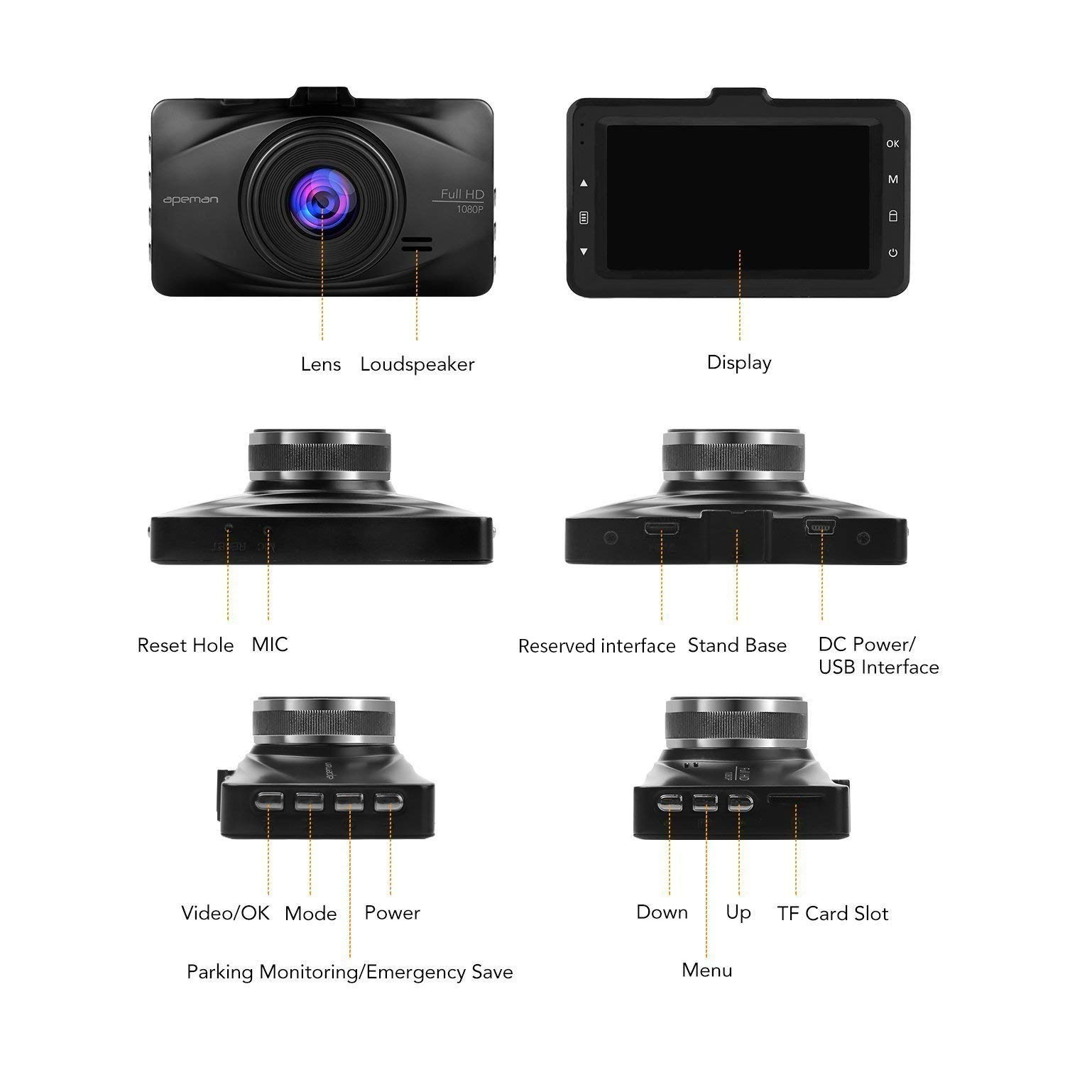 APEMAN Dash Cam FHD 1080P 3.0 inch LCD Screen Dashboard Camera Car Driving Recorder with 170 Degree Wide Angle,WDR,G-Sensor,Loop Recording,Motion Detection C570