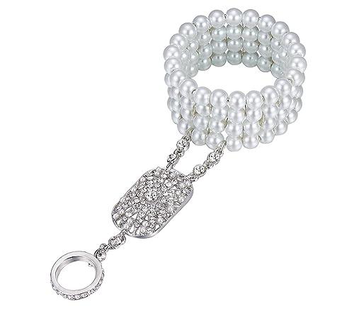 BABEYOND Damen Ring Armband Set Retro 1920er Party Verbundene Ring und Perlen Armband Damen Great Ga...