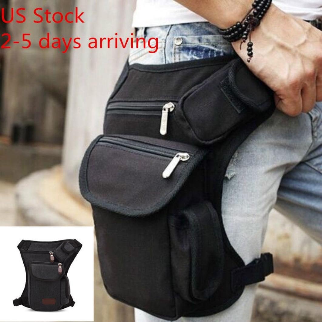 9a3aefbb643d Pocciol Useful Multifunction Outdoor Sport Leg Bag Canvas Waist Bag Money  Belt Fanny Pack (Black)
