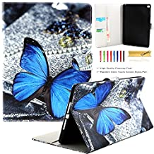 iPad Air 2 Case, iPad 6 Case, Dteck(TM) Fashion Cartoon Cute Flip Folio Stand Case Full Body Protective Premium Synthetic Leather Wallet Cover with Card Slots for Apple iPad Air 2 (01 Blue Butterfly)
