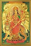 """Ambaji / Goddess Amba / Ambe Mataji / Maa Sheravali / Devi Durga with Tiger Poster Size 8.5"""" X 12"""" Approx."""