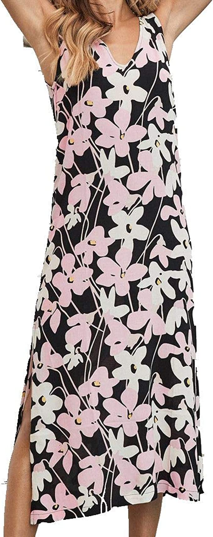 Women Strappy Floral Printed Pleated Boho Skirt Casual Sleeveless Sling Sundress