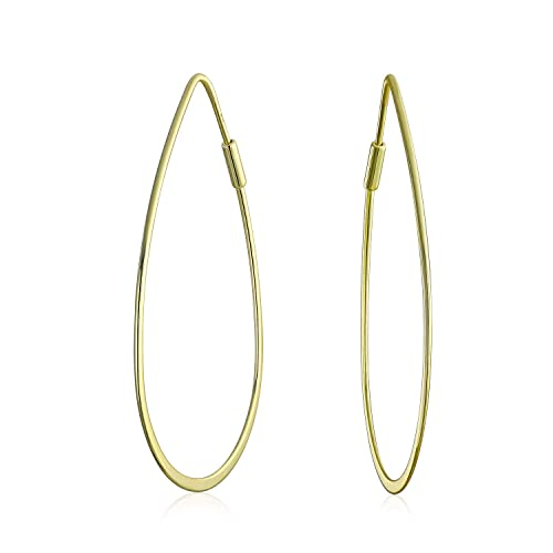 8281f9892 Image Unavailable. Image not available for. Color: Minimalist Open Tear  Shaped Oval Tube Endless Big Hoop Earrings For Women 14K ...