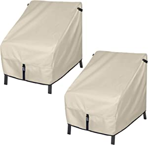 Porch Shield Patio Chair Covers - Waterproof Outdoor Single Armchair High Back Adirondack Chair Cover 2 Pack - 30W x 33D x 34H inch, Beige