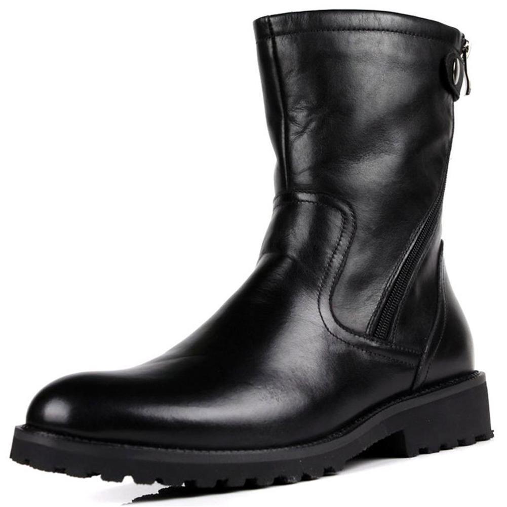 Männer Schnee Stiefel Echt Leder Hoch Schuhe Schwarz Herbst Winter Plus Kaschmir Warm Freizeit Draussen black
