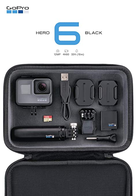 GoPro HERO6 - Cámara (Trípode Shorty, Estuche Accesorio y Micro SD de 32GB), Color Negro