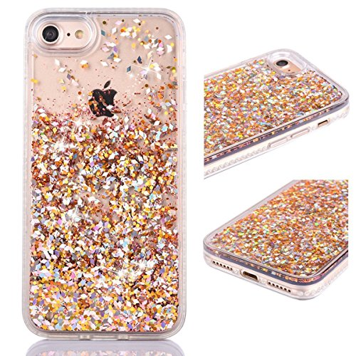 iPhone 8 Case, iPhone 7 Case, KMISS Glitter Star Liquid Flowing Floating Dynamic Luxury Bling Glitter Sparkle Flexible Protective Shell Bumper Case for Apple iPhone 8 iPhone 7 4.7 inch (Gold) (Ellipsis 8 Case Otter Box)