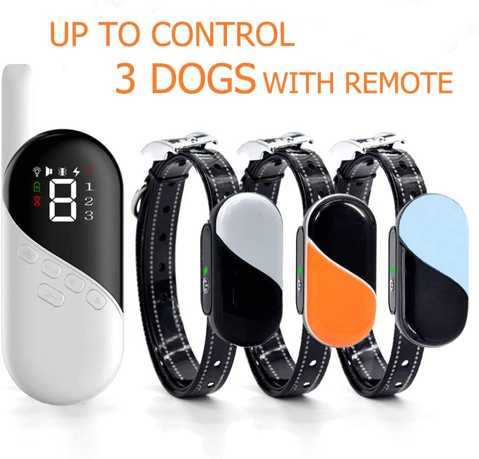 Pumila Shock Collar for 3 Dogs – Rechargeable Dog Training Collars with Tone, Vibrate, Shock Modes, Waterproof Bark Collar for Medium, Large Dogs