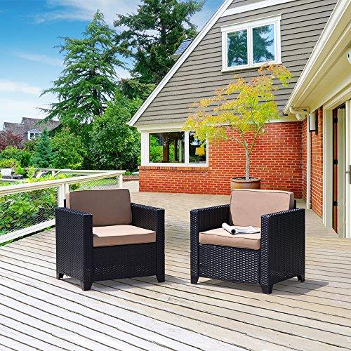 Cloud Mountain Rattan Love Seat Furniture Bistro Sofa Set Outdoor Wicker Patio Garden Glass Top Table (2 Piece-Club Chairs, Black Rattan with Khaki Cushions)