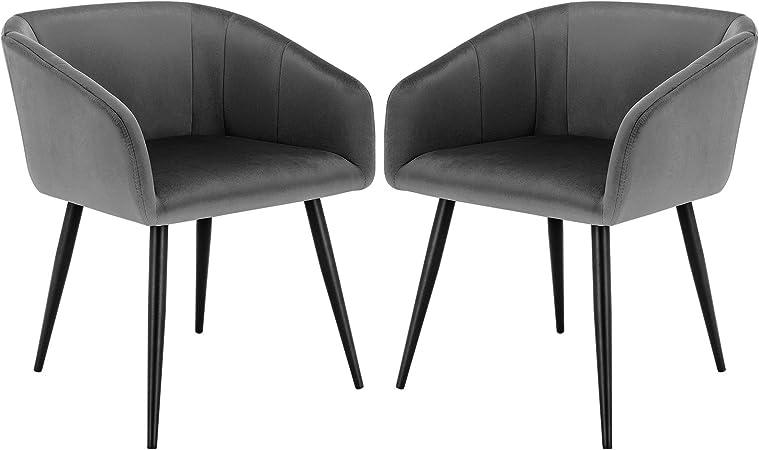 GRIGIO Set di 2 sedie da pranzo in velluto con gambe in metallo marrone Sedia da ufficio a casa Sedia da studio