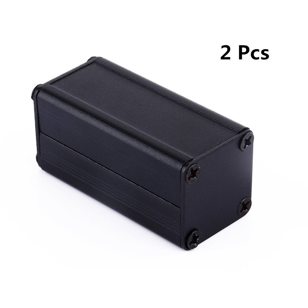 Yosoo 2pcs Black Extruded Aluminum Electronic Box Enclosure Project Case PCB DIY Box-1.97''x0.98''x0.98'' (LxWxH)