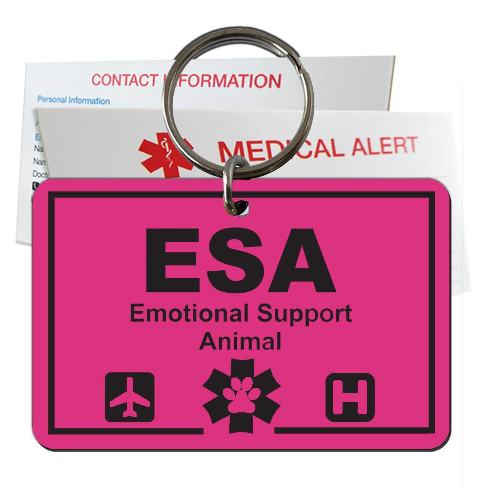 My Identity Doctor Emotional Support Animal ID Tag Engraved Rectangle Plastic Made In USA -Ribbon Pink - Small