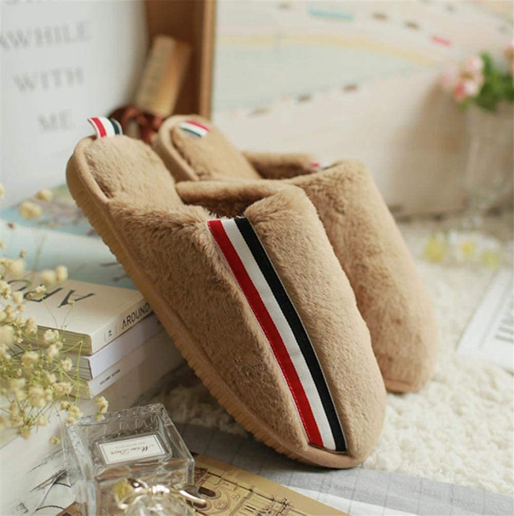 Khaki JaHGDU Lady Cotton Slippers Keep Warm in Autumn and Winter Home shoes Slip Slippers for Women Pink Black Khaki