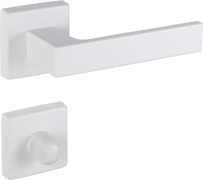 Gedotec Picaporte de aluminio para puerta de habitación – PUSH 1317 | roseta para puertas interiores | WC – cuarto de baño | picaporte blanco mate | 1 juego – picaporte cuadrado con tornillos