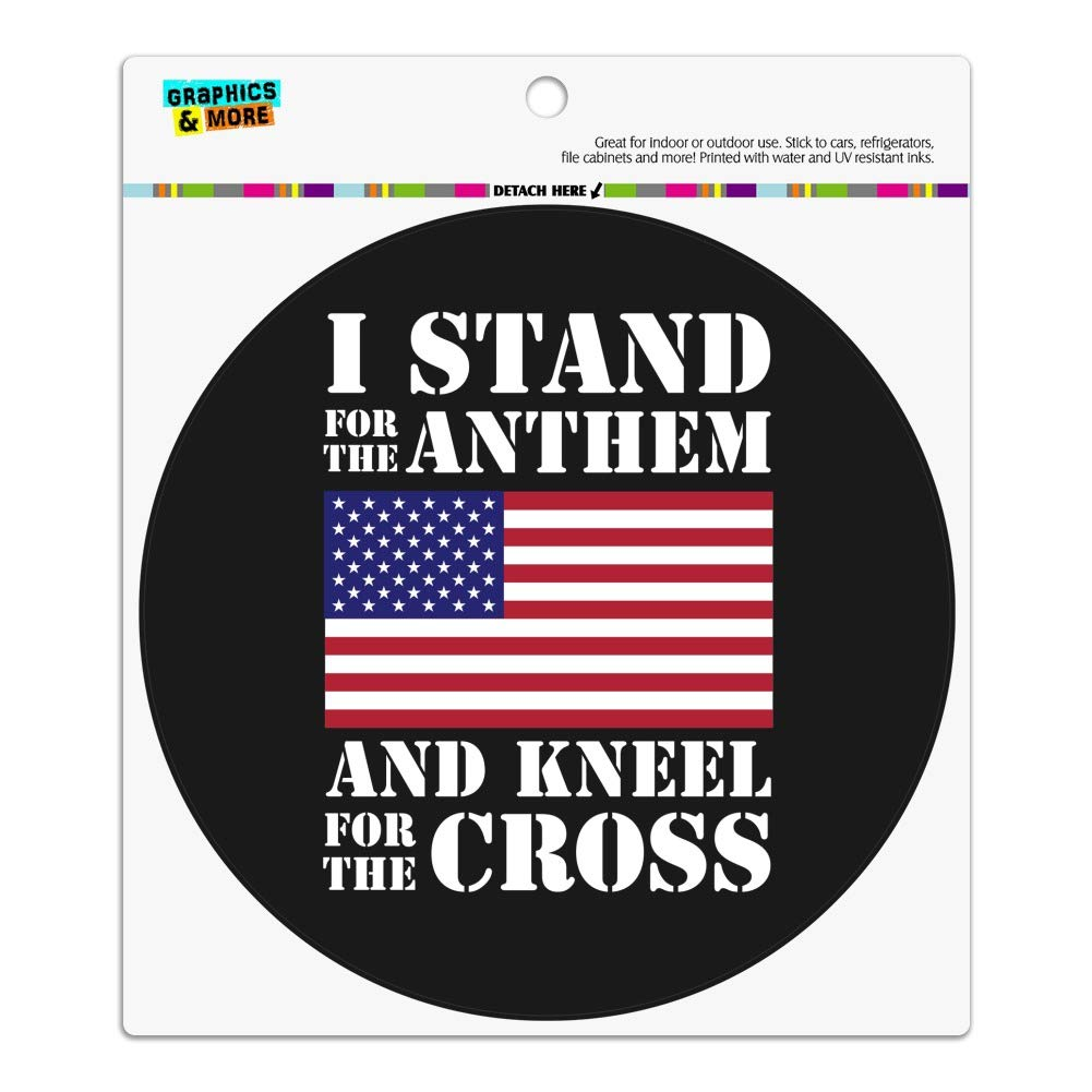 GRAPHICS & MORE I Stand for The Flag Kneel Cross USA American Flag Patriotic Automotive Car Refrigerator Locker Vinyl Circle Magnet