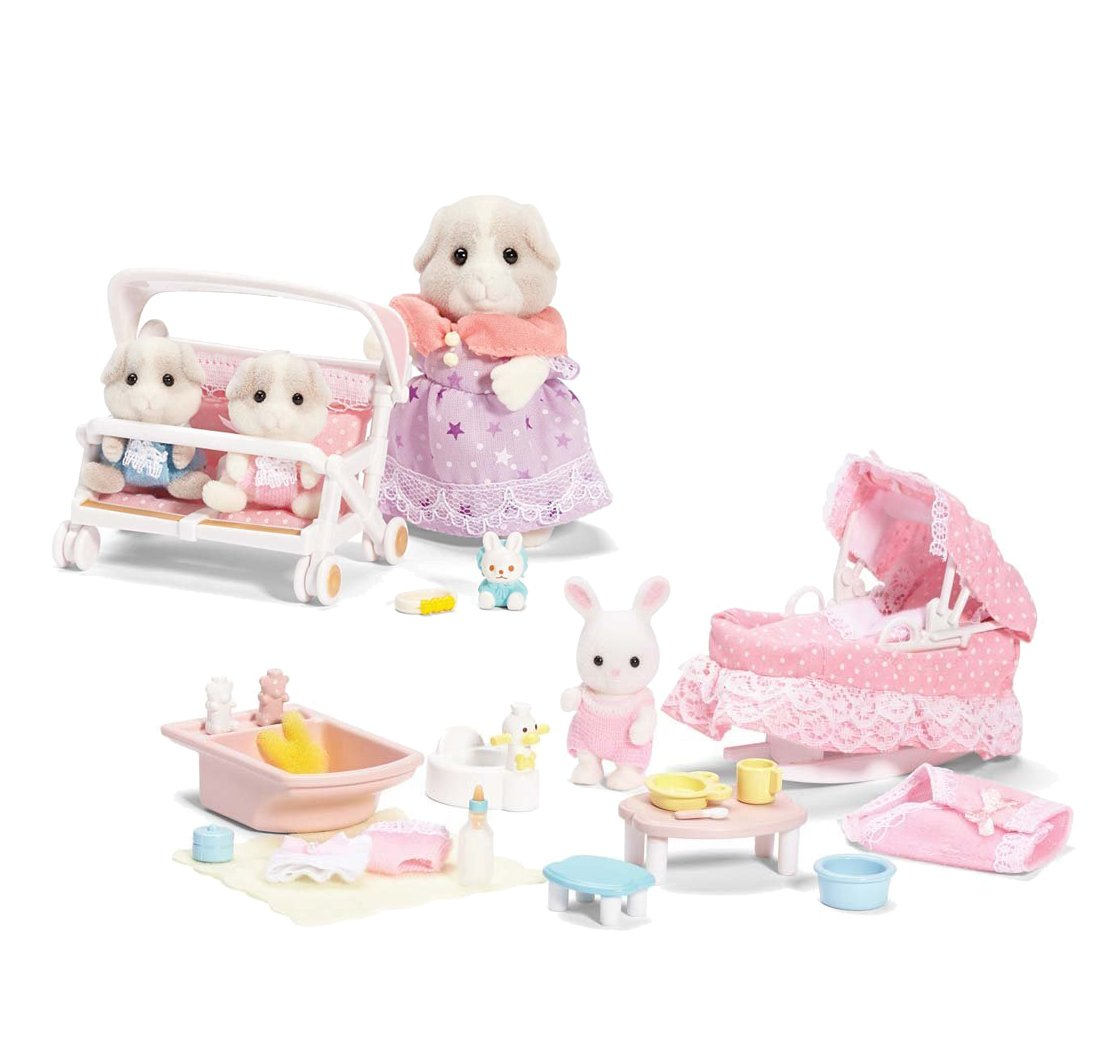 amazon com calico critters patty and paden u0027s double stroller set