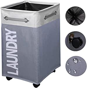 80L Collapsible Laundry Hamper/Waterproof Rolling Clothes Hamper Basket Bin with Breathable Cover and Wheels, for Bathroom Storage