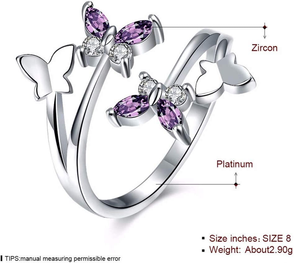 VAJONN Adjustable Butterfly Crystal Wings Female Rings for Women Cross Heart Love Jewelry Girls Wedding B s Party