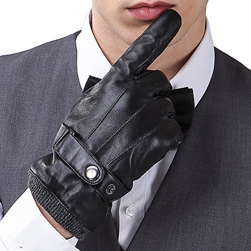 Mens Luxury Touchscreen Italian Nappa Genuine Leather Winter Warm Gloves for Texting Driving Knitted Cuff (L-8.9'', Black)