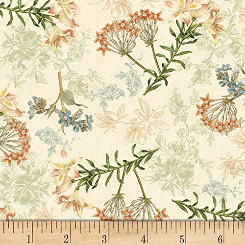 - David Textiles Oak Florals Cream/Multi Fabric Fabric by the Yard