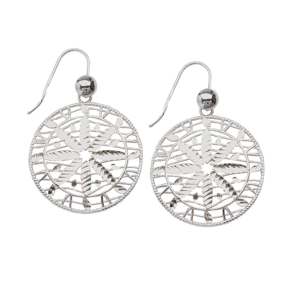Sterling Silver Round Diamond Cut Center Earrings