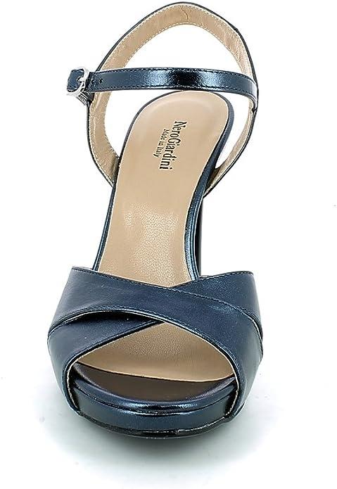 Nero Giardini Sandalo Laminato Blu con Tacco a Spillo