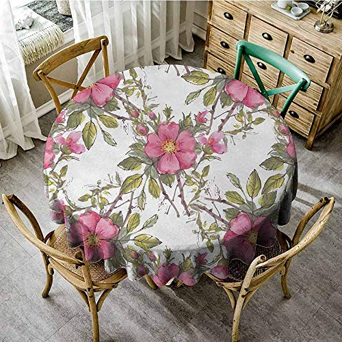 Agoza Flower,Round Tablecloth,40 INCH,Watercolor Dog Rose Garden Pattern with Leaves and Buds Image,Table Cover for Home Restaurant,Light Pink White and Lime Green (Bud Light Lime Cans 30 Pack Price)