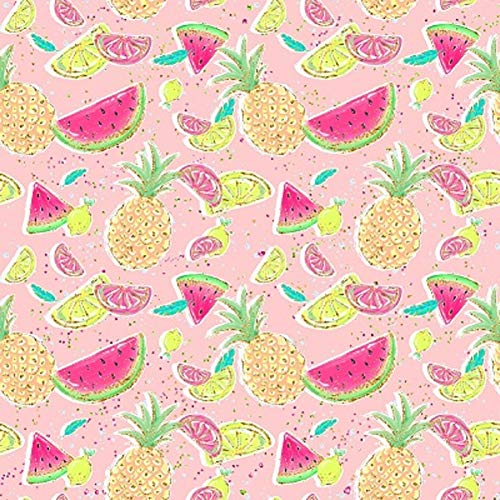 (Euro Oeko-Tex Knit Sumer Fruit Design Fabric by The Yard, 92% Cotton, 8% Lycra, 60 Inches Wide, 4 Way Stretch, Medium Weight (4)