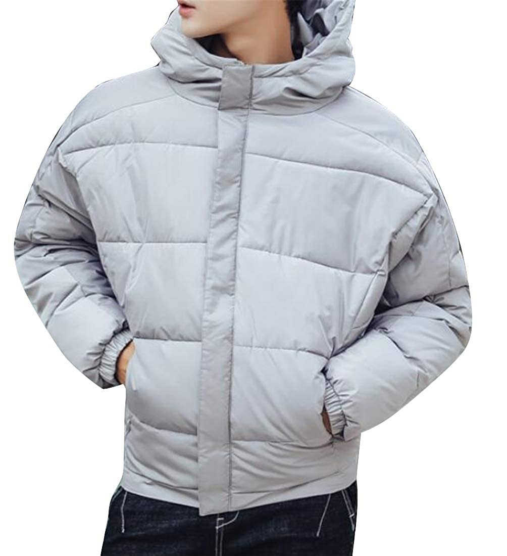 Suncolor8 Men Winter Plus Size Solid Warm Hoodie Down Quilted Jacket Coat Outwear