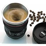 Ochoice Automatic Mixing Coffee Mug Camera Lens Travel Thermos with Stainless Steel Insulated Cup 300ML