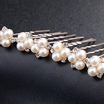 6 Wedding Prom Crystal  Mint Diamante Hair Pins Clips Grips