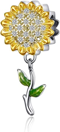 A Yellow Enamel Sunflower Charms Sterling Silver Bracelets for Women Necklace Mothers Day Anniversary Gifts for Her Charms Jewelry Making