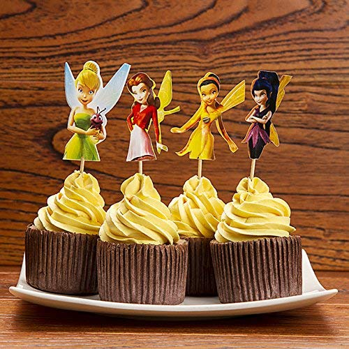 KBN 12pc Tinkerbell Cartoon Cupcake Toppers for Party Decorations Supply Birthday Kids -