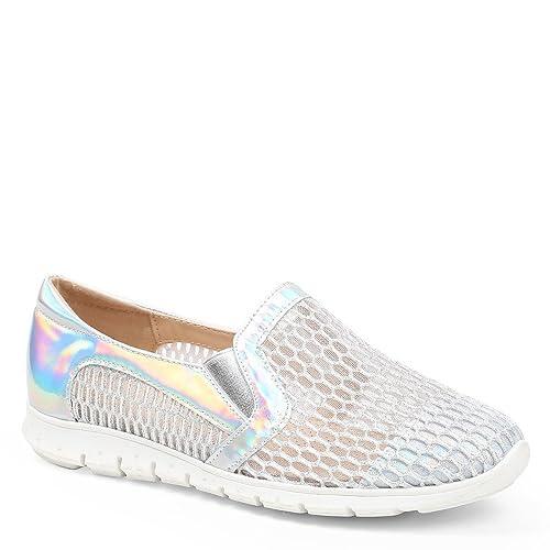 Ideal Shoes Slip-On ajouré Evora, (plata), Fr 41: Amazon.es: Zapatos y complementos