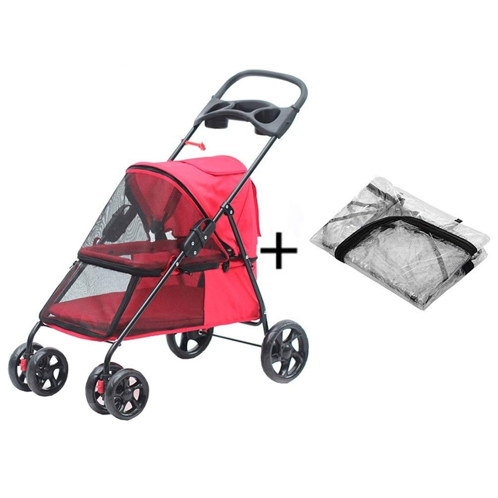 8 Dog Pushchair, With Rain Cover Stroller Pram Carrier Pet Cat Trolley 4 Wheels Foldable Outdoor Travel Puppy Jogger For Trip (color   5)
