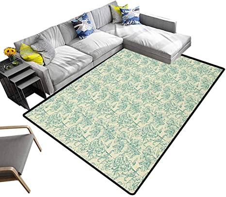 Green Area Rug Botanical Flower Bouquet Arrangement With Vintage Look Soulful Spring Season For Kitchen Rugs Cream Pale Blue 5 7 X8 6 Amazon Ca Home Kitchen