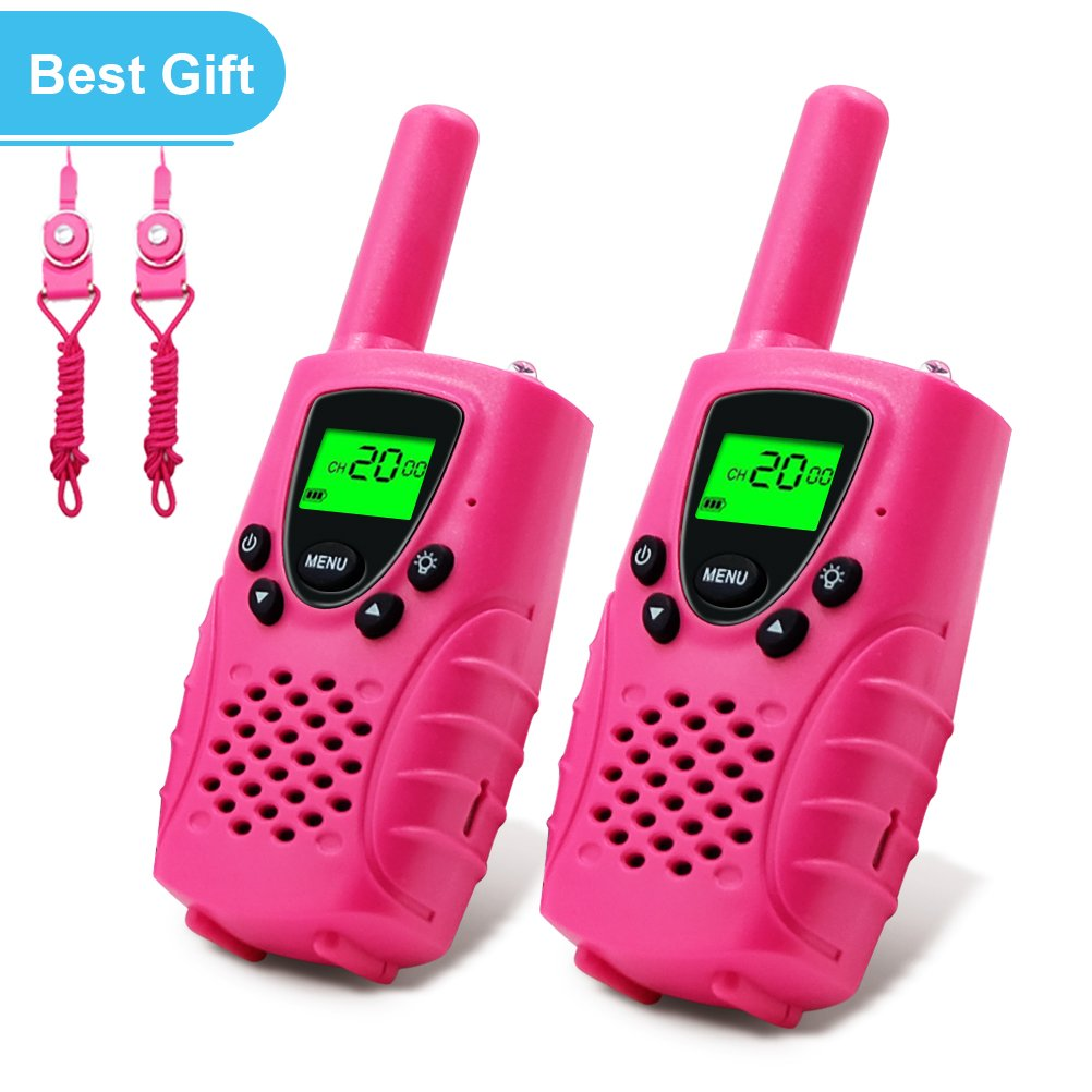 E-wor Walkie Talkies For Kids, 22 Channels FRS/GMRS UHF Kids Walkie Talkies, 2 Way Radios 4 Miles Walkie Talkies Girls Kids with Flashlight-Best Gifts for Girls, 1 Pair-Pink