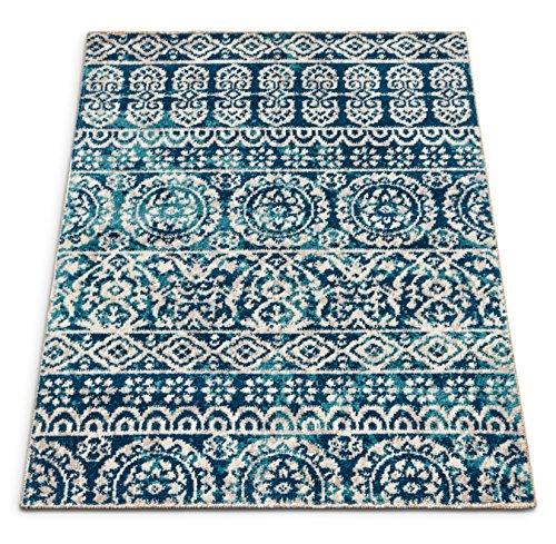 Well Woven FI-84-3 Firenze Dorothea Modern Vintage Mosaic Tile Work Distressed Blue Accent Rug 2' x 3' Doormat